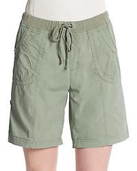 Roll Tab Cuff Drawstring Shorts