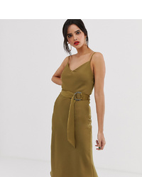River Island Slip Dress In Khaki