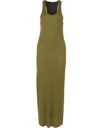 Haider Ackermann Ribbed Jersey And Silk De Chine Maxi Dress