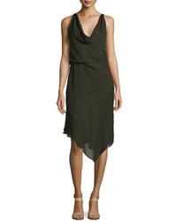 Robertas draped silk midi dress olive medium 3645007
