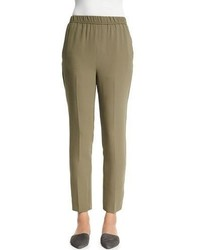 Shamask Slim Leg Silk Ankle Pants Army