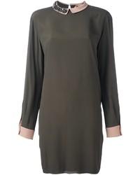 Olive Silk Shift Dress