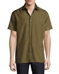 Salvatore Ferragamo Short Sleeve Silk Shirt Military Green