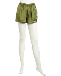 Olive Silk Shorts