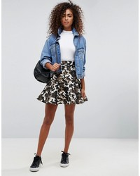 ASOS DESIGN Asos Mini Skirt In Camo Metallic Jacquard
