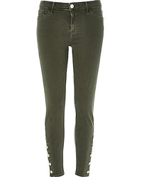 River Island Khaki Button Molly Jeggings