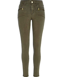 River Island Khaki Pocket Detail Molly Biker Jeggings