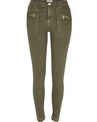 River Island Khaki Raw Hem Molly Jeggings