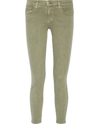 Current/Elliott The Stiletto Mid Rise Skinny Jeans Army Green
