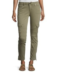 True Religion Halle Cropped Skinny Cargo Pants Burnt Olive