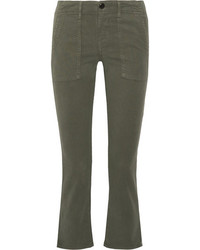 The Great The Army Nerd Cropped Stretch Twill Skinny Pants Army Green
