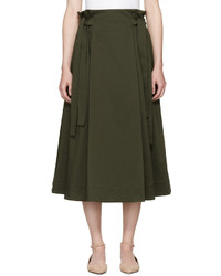 Rosetta Getty Green Knotted Pull On Skirt