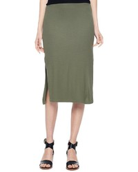 Olive Slit Midi Skirt