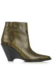 Acne Studios Caroline Snake Effect Leather Ankle Boots