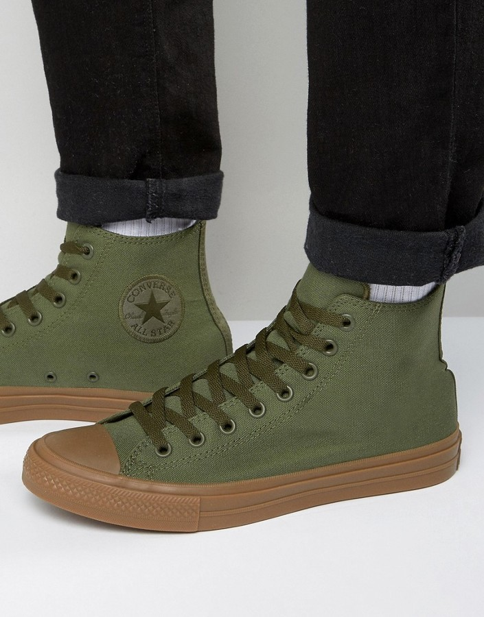 719a83bcbf7e1 ... Converse Chuck Taylor All Star Ii Hi Sneakers With Gum Sole In Green  155498c ...