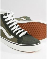 db39b8a5c4 ... Vans Sk8 Hi Canvas Sneakers In Green V004okjuh