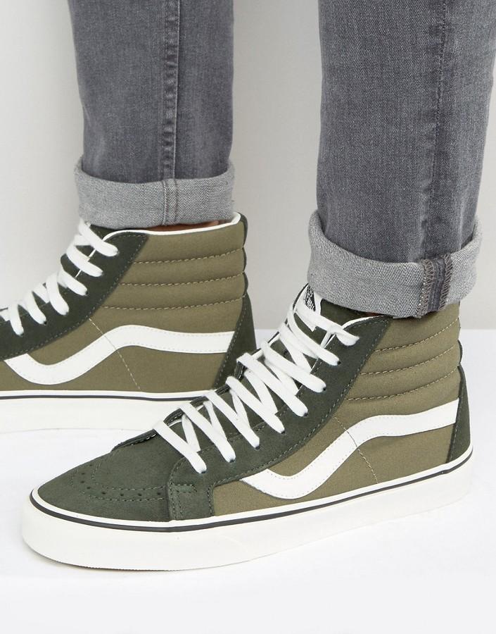 Men's Vans Sk8 Hi Suede Canvas Shoes [KE2410LA] Green