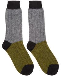 Haider Ackermann Grey Khaki Alpaca Socks