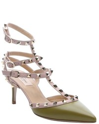 Valentino Olive Green Leather Rockstud Triple Ankle T Strap Pumps