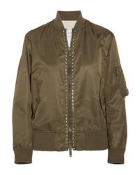 Valentino The Rockstud Satin Bomber Jacket