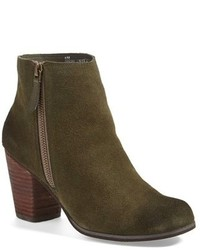 Olive Suede Ankle Boots