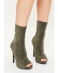 Missguided Khaki Faux Suede Peep Toe Platform Boots