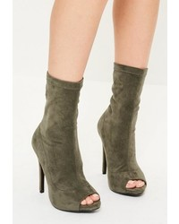Missguided Khaki Peep Toe Faux Suede Heeled Ankle Boots