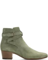 Saint Laurent Khaki Suede Blake Jodhpur Boots