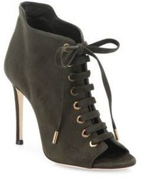 Jimmy Choo Mavy Suede Peep Toe Lace Up Booties