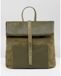 Olive Suede Backpack