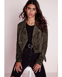 Missguided faux suede long sleeve biker jacket khaki medium 536489
