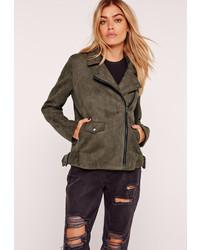 Missguided suedette bonded biker jacket khaki medium 825234