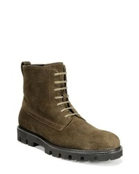 Olive Suede Casual Boots