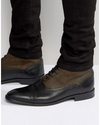 Asos Lace Up Boots In Leather And Suede Mix With Toe Cap