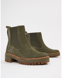 Timberland Courmayeur Valley Olive Leather Chelsea Pull On Ankle Boots