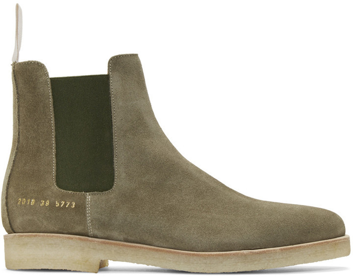 c19748ddca53e ... Olive Suede Chelsea Boots Common Projects Green Suede Chelsea Boots ...