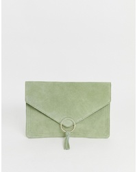 ASOS DESIGN Suede Ring Tassel Clutch Bag