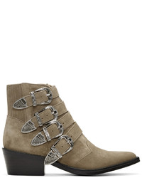 Toga Pulla Khaki Suede Four Buckle Western Boots