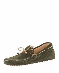 Tod's Gommini Suede Driver With Braided Tie Green