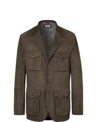 Brunello Cucinelli Slim Fit Suede Field Jacket