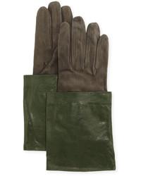 Brunello Cucinelli Leather Suede Short Gloves Green