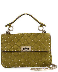 Valentino Garavani Rockstud Medium Quilted Suede Shoulder Bag