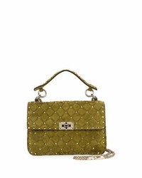 Rockstud medium quilted suede shoulder bag medium 3640678