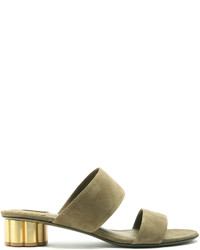 Salvatore Ferragamo Belluno Flower Heel Suede Sandals