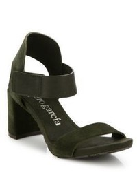 Pedro Garcia Willa Suede Grip Tape Block Heel Sandals