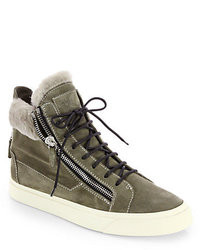 Olive Suede High Top Sneakers