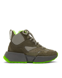 MM6 MAISON MARGIELA Green Flared High Top Sneakers