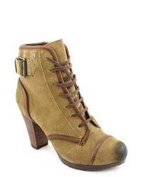 Olive Suede Lace-up Ankle Boots