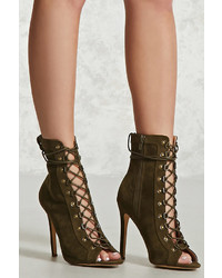 Forever 21 Faux Suede Lace Up Boots