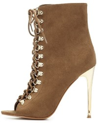 Charlotte Russe Lace Up Peep Toe Ankle Booties